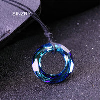 SINZRY Jewelry Imported Crystal Circle Necklaces Luxury 925 Sterling Silver Handmade Glass Crysal Jewelry