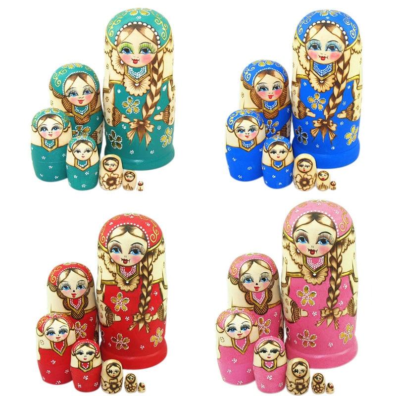 7pcs New Wooden Russian Nesting Dolls Braid Girl Dolls Traditional Matryoshka Wishing Dolls Gift 88 YH-17