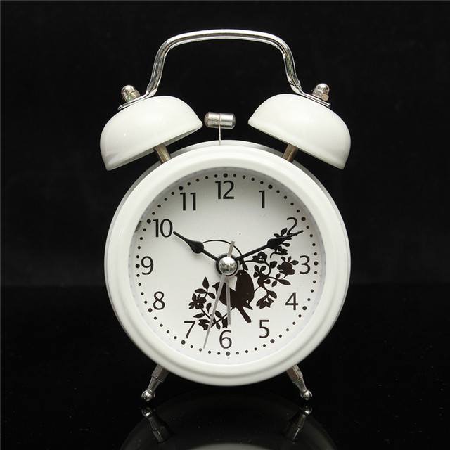 Charminer White Metal Double Bell Silent Quartz Classic Alarm Clock