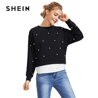 SHEIN Pearl Beading 2 In 1 Sweatshirt 2017 Fashion Autumn O Neck Pullover Black Casual Smart