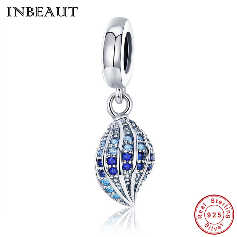 INBEAUT 925 Sterling Silver Ocean Blue Zircon Conch Pendant Beads fit Pandora Bracelet Women Pure S925 Charms for Jewelry Making