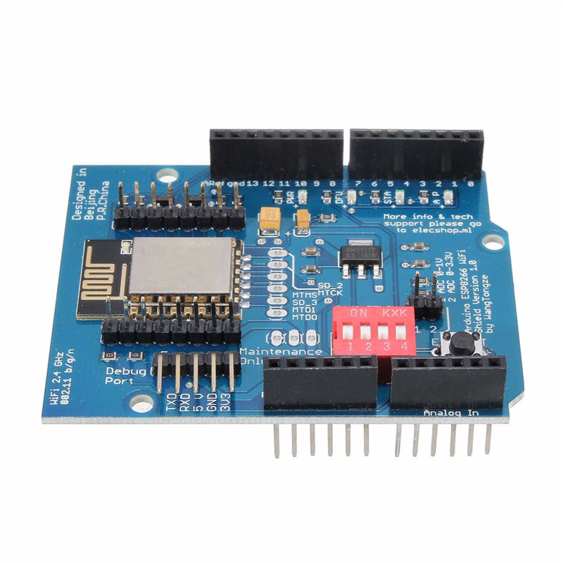 ESP-12E ESP8266 UART WIFI Wireless Shield Development Board For Arduino UNO R3 Circuits 70 x 60 x 20 mm Boards Modules DIY Kit development board w data cable for arduino uno r3 deep blue cable 52cm