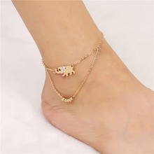 Sale Fashion Women Girl Golden Exquisite Elephant Chain Charm Jewelry Anklet Bracelet Dual Use Gift