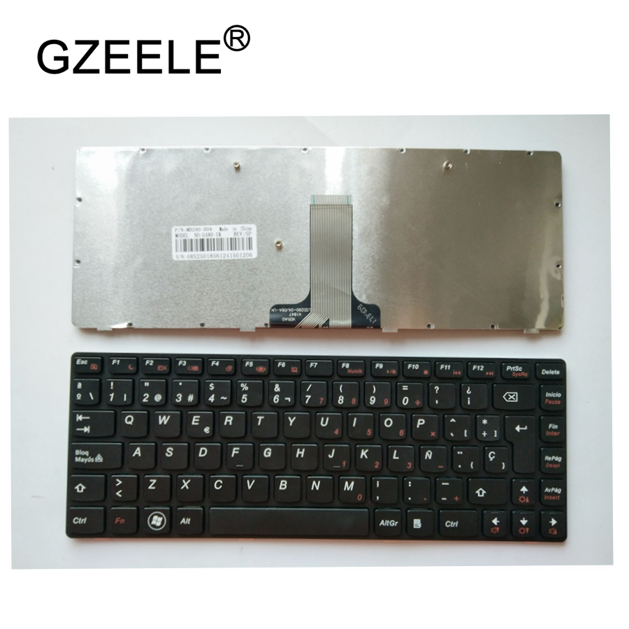 GZEELE Spanish Laptop <font><b>keyboard</b></font> for <font><b>LENOVO</b></font> G480 G480A G485 G485A Z380 <font><b>Z480</b></font> Z485 G490AT G490 B480 B485 G405 black <font><b>keyboard</b></font> SP image