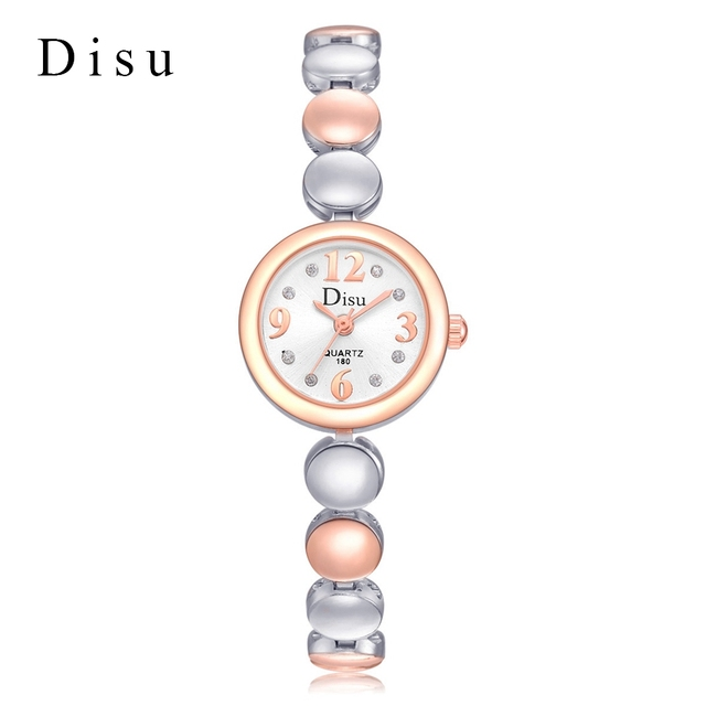385e92c6b8a DISU Marca Moda Feminina Relógios de Luxo Subiu de Prata Senhoras Pulseira  de Relógio de Mostrador