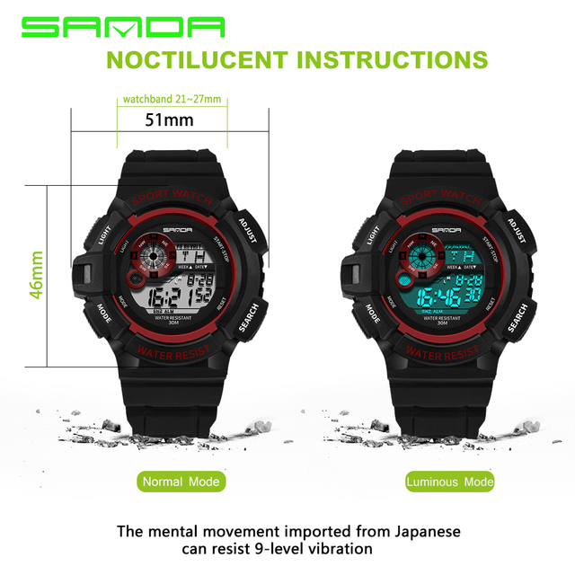 2017 SANDA Outdoor Sports Compass Watches Hiking Men Watch Digital LED Electronic Watch Man Sports Watches Chronograph Men Clock