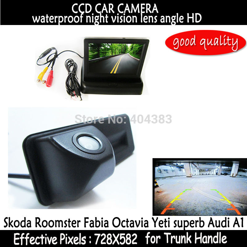 4.3 inch Car Mirror Monitor + HD CCD car rear view Trunk handle Camera for Skoda Roomster Fabia Octavia Yeti superb for Audi A1 hd ccd night viosn car trunk handle reverse parking rear view camera for audi a1 skoda roomster fabia octavia yeti superb