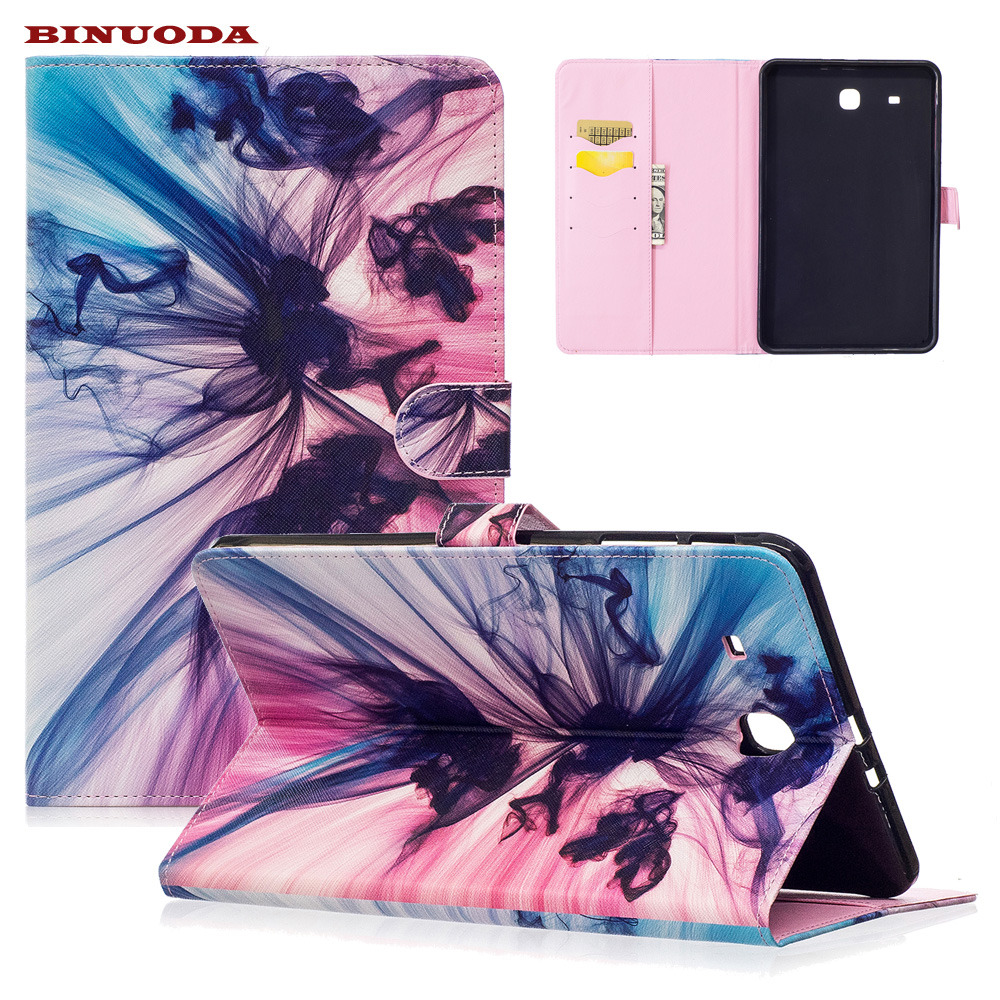 For Galaxy Tab E9.6 Case Art Print Flip Stand PU Leather Magnetic Snap Case Cover for Samsung Galaxy Tab E 9.6 SM-T560 T561