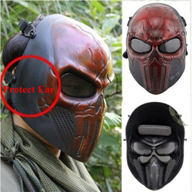 Tactics Punisher Chastener Ear-Protective Mask Facial Mask For CS Wargame Airsoft Paintball Wargame Cosplay Movie Prop Halloween