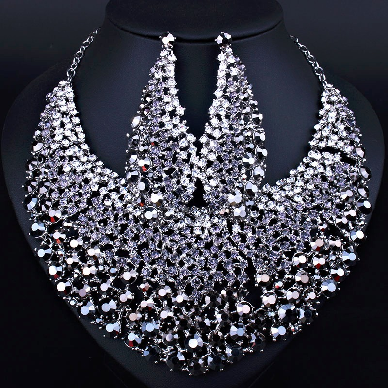 Crystal Rhinestone Necklace and Earrings Set