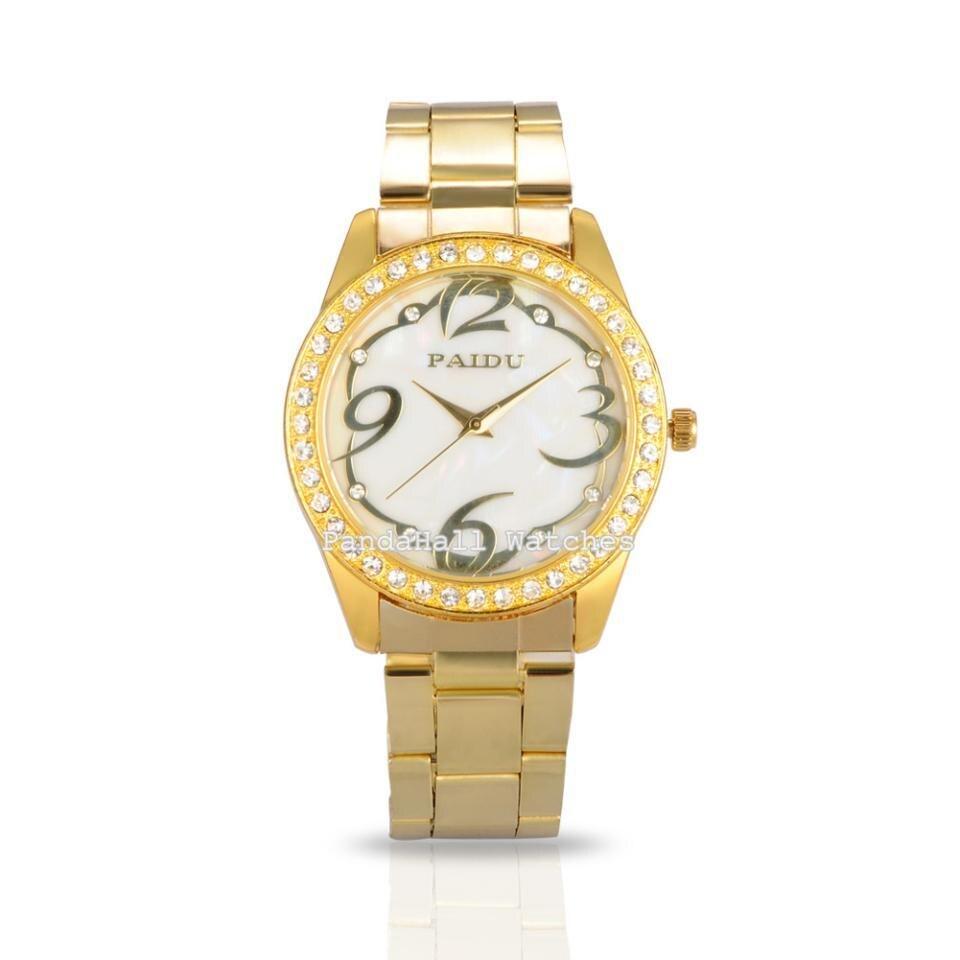 fb8cb2236cb Cheio de ouro de Aço Inoxidável Mulheres Relógios de Luxo Da Marca PAIDU  Rhinestone Diamond-studded Quartz Vestido Relógio de Pulso