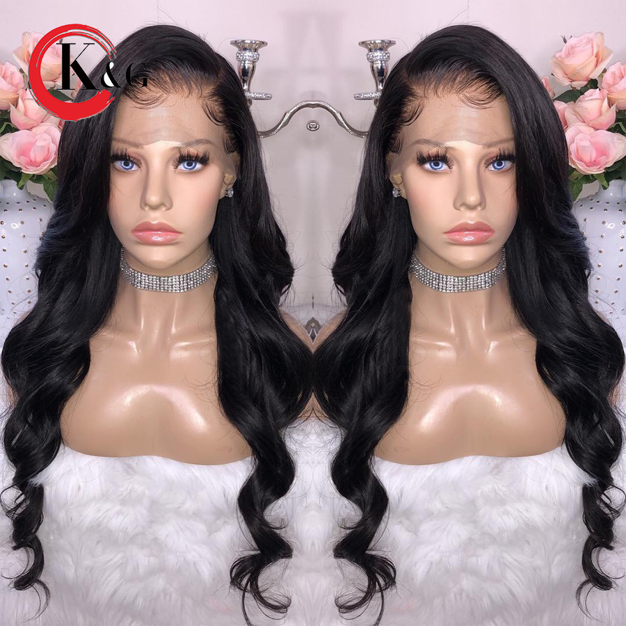 Kun Gang Wavy Lace Front Human Hair Wigs With Baby Hair Brazilian Remy Hair Glueless Wigs