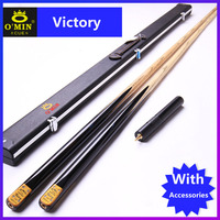NEW Handmade Custom O'min One Piece Snooker Cue Victory Model 9.8mm Tip Snooker Cues Case Set China