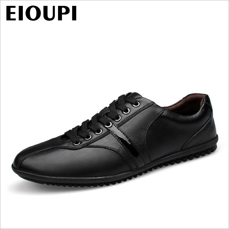 EIOUPI top quality new design genuine real cow leather mens fashion business casual shoe breathable men shoes lh1561 top quality genuine real grain leather boots qshoes mens brand design business dress casual men personalized boot ym08 01