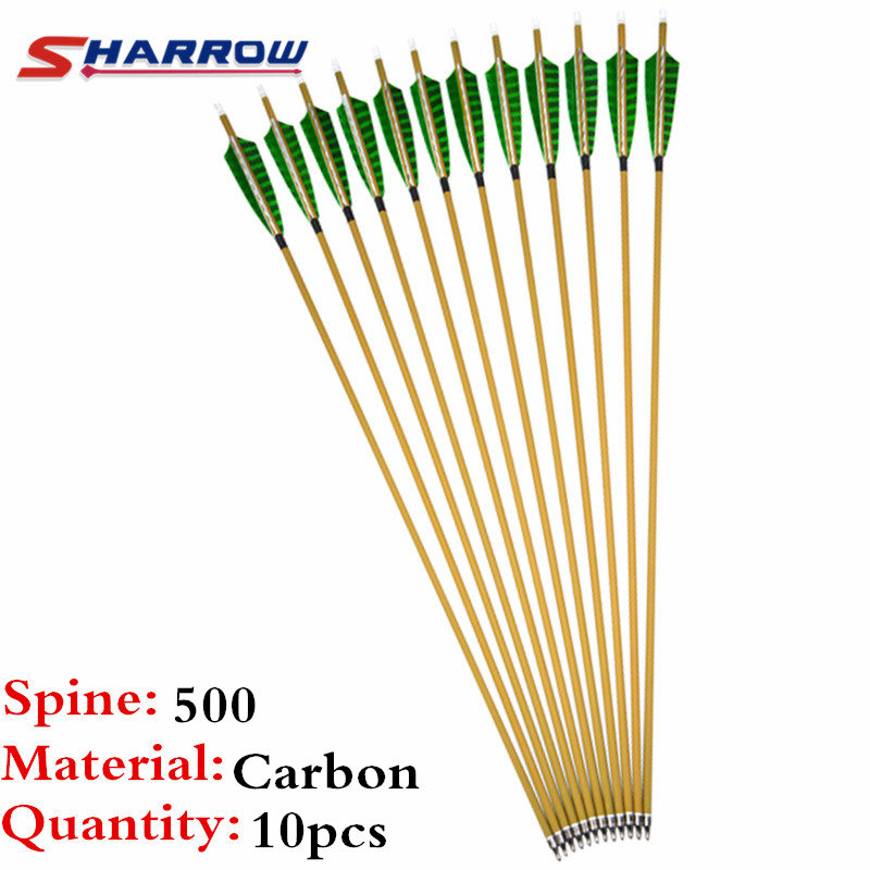 10Pcs 30 Archery Carbon Arrow Spine 500 Pure Carbon Arrows Replaceable Broadheads Tips For Outdoor Hunting