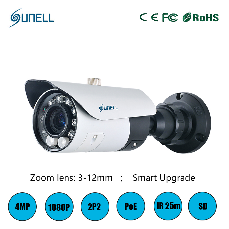 zk20 Sunell HD 4MP 1080P 4x Zoom Varifocal Lens Onvif POE IR Dome Network IP Security