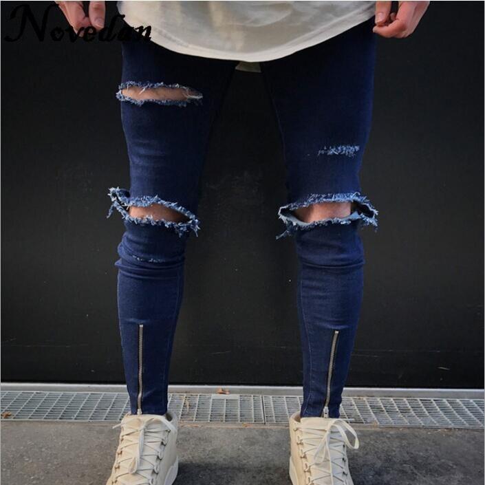 Hip Hop Men Jeans Casual Denim Distressed Masculina Men's Slim Jeans Pants Brand Biker Jeans Rock Skinny Ripped Jeans Homme jeans homme biker jeans biker jeans brand -