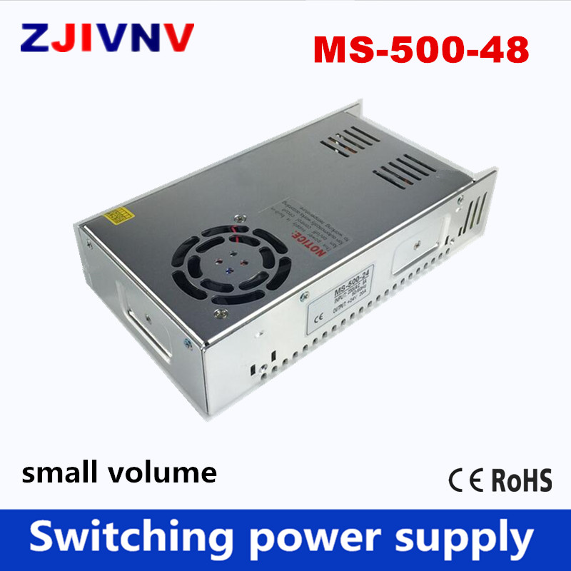High quality Small size 500W switching power supply output 48V 10A LED smps input 110/220v ac-dc transformer mini size MS-500-48 single output high quality small volume switching power supply 48v dc 20w ms 20 48 0 4a metal case with ce