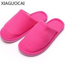 XiaGuoCai 2017 winter cotton slippers children men and women household slippers warm plush Couple fashion family shoes k250 27