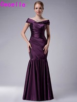 2017 Purple Long Mermaid Taffeta Mother Of The Bride Dresses Pleated Off Shoulder Floor Length Real Image Wedding Party Dresses