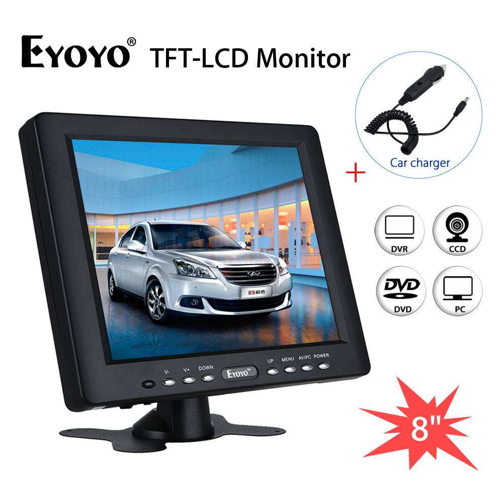 EYOYO HM8009 8 inch TFT HD LCD Monitor 4:3 Video Audio VGA BNC HDMI Input For CCTV/DVD/DVR/PC/CCD/Camera 1024*768 8 inch lcd monitor color screen bnc tv av vga hd remote control for pc cctv computer game security