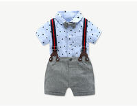 Boy's clothes baby's short sleeved baby's clothes cotton suspenders suit a thin gentleman's climbing suit 0 24m