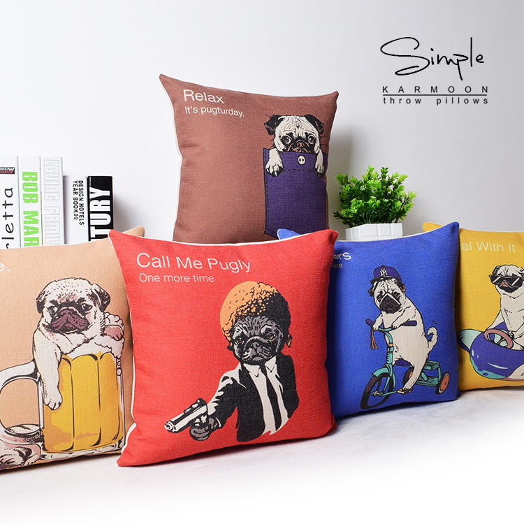 Funky Pug Dog Cushion Cover Linen Novelty Funny Fawn Puppy Bulldog Throw Pillow Case Cute Animal Pillows Sofa Covers Decor Gift Pillow Gift Box For Foodpillow Size Aliexpress
