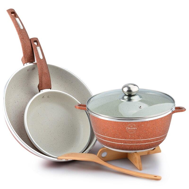 5pcs/Set Non-Stick Frying Pan Set Soup Pot