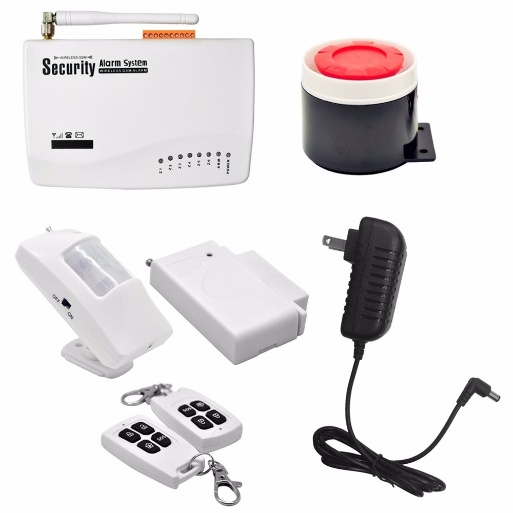 купить Wireless GSM Home Security Burglar Alarm System Auto Dialler SMS SIM Call 433MHz Frequency Support Remote Control по цене 1950.17 рублей