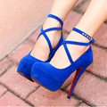 2017 New Red Sole High Platform Women Pumps Fashion Cross Buckle Shallow High Heels Shoes Solid Flock Women's Sexy Party Shoes
