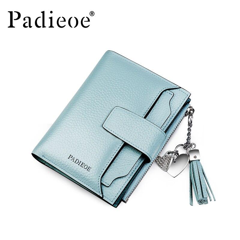 Padieoe New fashion women wallets genuine leather organizer wallet ID credit card holder tassel purse стоимость