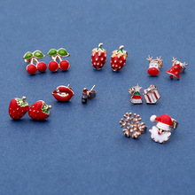 Hot Christmas Cartoon Stud Earrings Child Girl Fruit Elk Gift Piercing Fashion Jewelry New