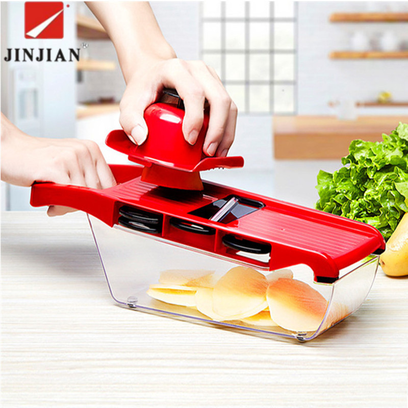 JINJIAN 6 in 1 Kitchen Gadget Mandoline Vegetable Slicer Stainless Steel Cutting Vegetable Grater Creative Carrot Potato cutter gadget