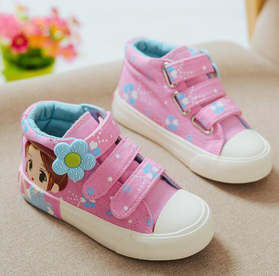 2016 new brand canvas girls shoes high quality Lovely princess baby shoes Elegant Hook baby boots casual cute baby sneakers