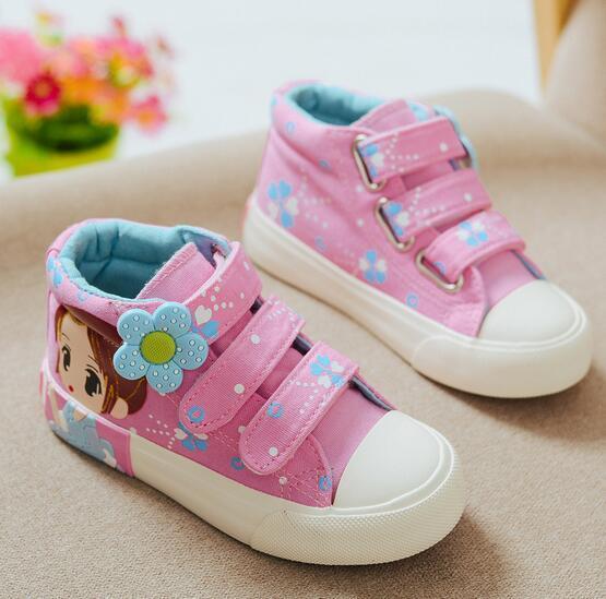 2016 nueva marca de lona zapatos de las muchachas princesa Encantadora de alta calidad zapatos de bebé Elegante Gancho cargadores del bebé del bebé lindo ocasional de las zapatillas de deporte