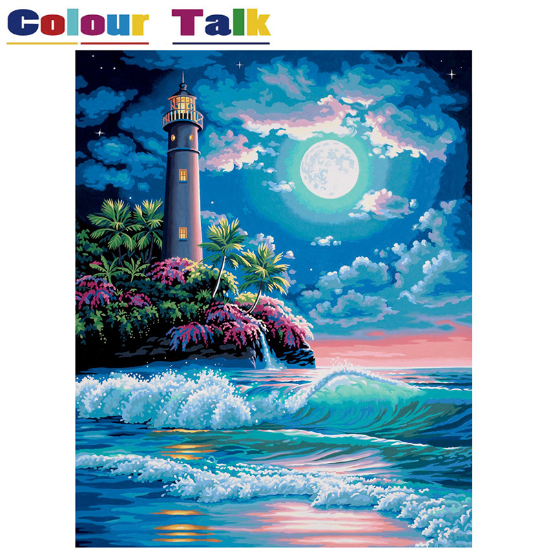Art Supplies Chenistory Traditional Moonlight City Diy Painting By Numbers Kit Acrylic Colour