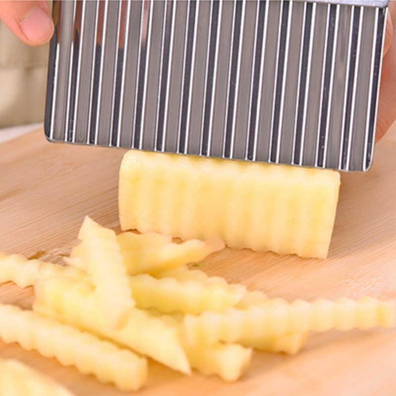 Batata fritar francês cortador de aço inoxidável acessórios cozinha lâmina serrilhada fácil cortar banana frutas batata onda faca chopper