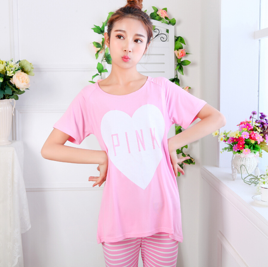 479d23747118 The New Summer Sweet Love Pink Ladies Pajamas Short Sleeved Pants Five  Leisure Suit Wearing Home Furnishing Pijama Women Pajama