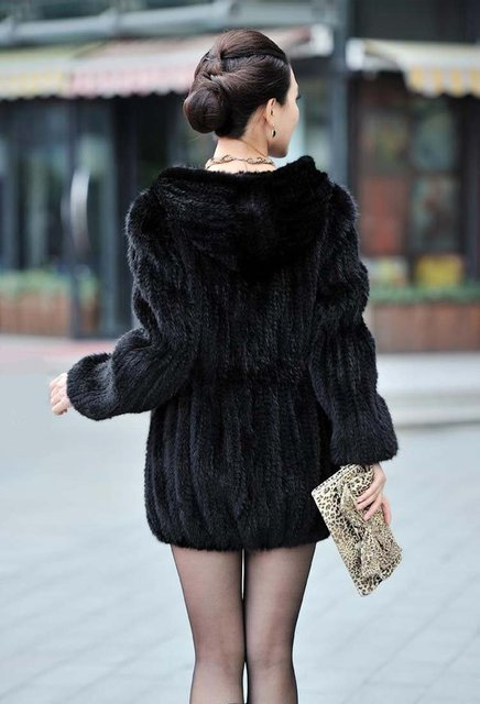 100% EUROPEAN MINK FUR KNITTED LONG COAT WITH HOOD/ REAL MINK FUR JACKET* FREE SHIPPING*BE1249 1