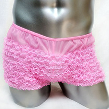 Mens Sexy Lingerie Shiny Ruffled Bloomer Tiered Skirted Panties Sissy Boxers Underwear  Gay Male Clubwear Underpants
