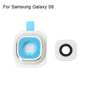 Image 3 - 1 комплект Задняя крышка объектива камеры стеклянная крышка с рамкой держатель для samsung Galaxy S6 запасные части