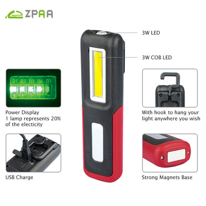 5pcs USB Rechargeable Mini LED COB Work Light Built-in Battery Magnetic Repairs Pocket Torch Flashlight Stand Lamp With Hook 1pc bergeon work desk top mat 6808 antistatic green plastic watchmakers repairs 9 5 x 12 5