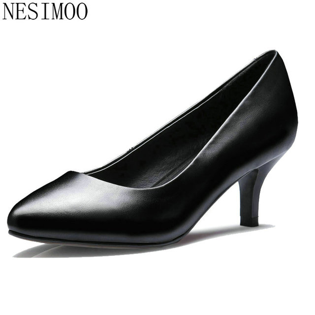 NESIMOO 2018 Women Pumps Thin High Heel Pointed Toe Genuine Leather Office  Shoes Spring Sexy Ladies Wedding Shoes Size 34-42 67ae3877d3a9