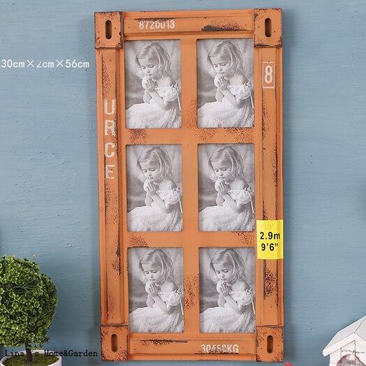6 apertura vintage estilo industrial naranja pared colgante de ...