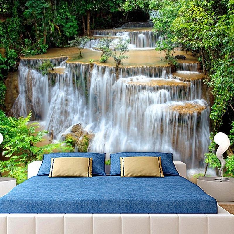 Custom 3d Photo Wallpaper Hd Green Landscape Waterfall Beautiful Tv Background Mural Bedroom Living Room Non Woven 3d Wall Paper Wallpapers Aliexpress