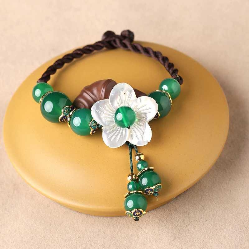 サイズを選択できますブレスレット装飾品手作りグリーンジュエリー人種風殻フラワーガールハンドストリング