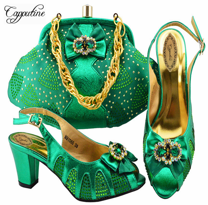 Capputine New 2018 Design African Shoes Matching Bag Set Italian Style Pumps  Green Color Woman YK1065 c276531034ce