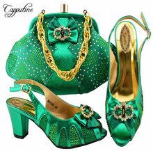 1873d5c5e59f Capputine New 2018 Design African Shoes And Matching Bag Set Italian Style  Pumps Green Color Shoes