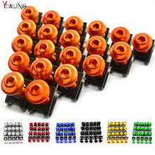 20 PCS Racing Universal CNC Aluminium M6 6MM Motorcycle Body Fairing Bolts Fastener Clips Screw Sportbike Scooter
