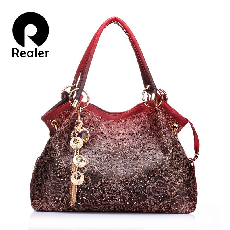 Prix pour Realer marque femmes sac évider ombre sac à main imprimé floral sacs à bandoulière dames pu cuir fourre-tout sac rouge/gris/bleu